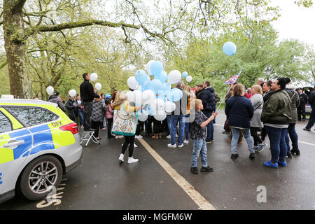 London, UK, 28th April 2018. Relatives, friends and supporters of three men, Harry Rice, Josh McGuinness and George Wilkinson who were killed by Jaynesh Chudasama in a hit and run who believe they have not had justice for their deaths. Penelope Barritt/Alamy Live News - Stock Photo