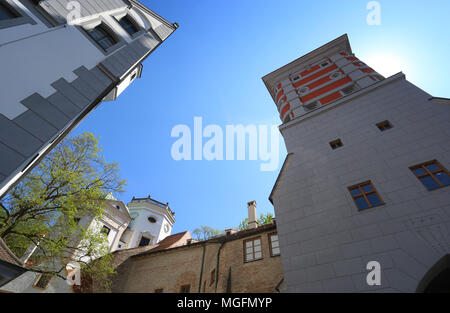 27 April 2018, Germany, Augsburg: Two water towers of the historical water works standing at the 'Red Gate'. The city of Augsburg has applied as 'Wasserbau und Wasserkraft, Trinkwasser und Brunnenkunst in Augsburg' (lit. hydarulic engineering, hydropower, drinking water and fountain art) for admission to the UNESCO world heritage list. Photo: Karl-Josef Hildenbrand/dpa - Stock Photo