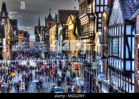 City of Chester, England. Artistic elevated view of a busy Christmas shopping scene, at Chester's Eastgate. - Stock Photo