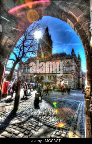 City of Chester, England. Artistic silhouetted view of the William Henry Lynn designed Chester Town Hall. - Stock Photo