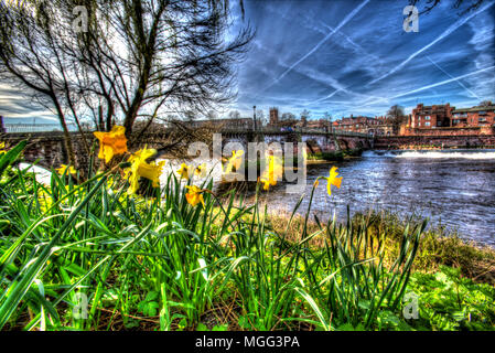 City of Chester, England. Artistic spring view of Chester's medieval Old Dee Bridge over the River Dee. - Stock Photo