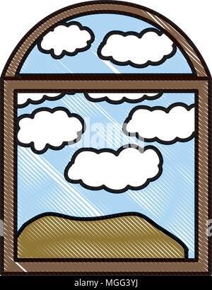 landscape seen through the windows - Stock Photo