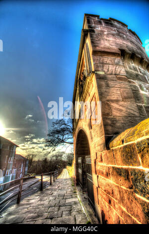 City of Chester, England. Artistic silhouetted view of Pemberton's Tower (formerly Goblin Tower) on Chester City Walls. - Stock Photo