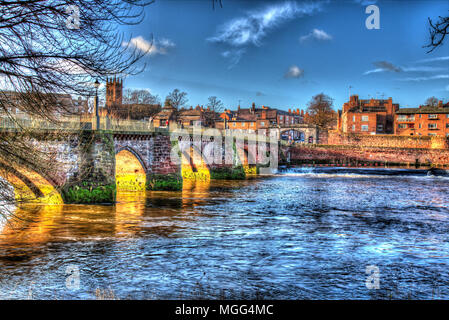 City of Chester, England. Artistic view of Chester's medieval Old Dee Bridge over the River Dee. - Stock Photo