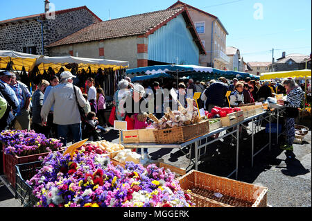 Haute-Loire, France - The weekly market of Costaros - one of the largest ones in the Le Puy region - offers local and organic products. - Stock Photo