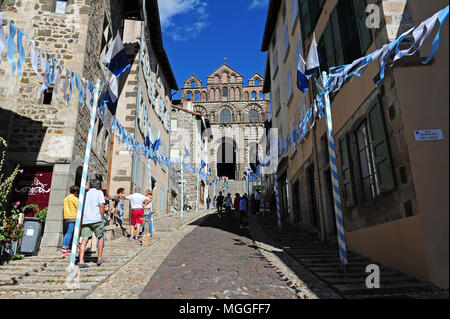 The cathedral of Le-Puy-en-Velay, Auvergne, France. Le Puy was the start point of the Camino de Santiago (Way of Saint James) - Stock Photo