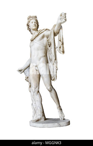 Perspective view of famous roman greek copy of apolo di belvedere sculpture isolated on white background - Stock Photo