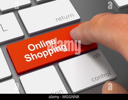 online shopping pushing keyboard with finger 3d concept illustration - Stock Photo