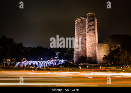 Maiden's Tower in Baku - Stock Photo