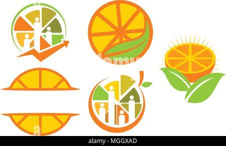 Orange icon Emblem Blank Template Set - Stock Photo