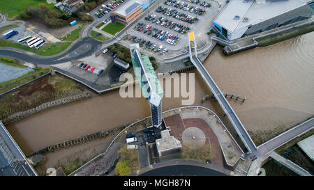 Aerial view of Hull tidal barrier, Hull, River Hull - Stock Photo