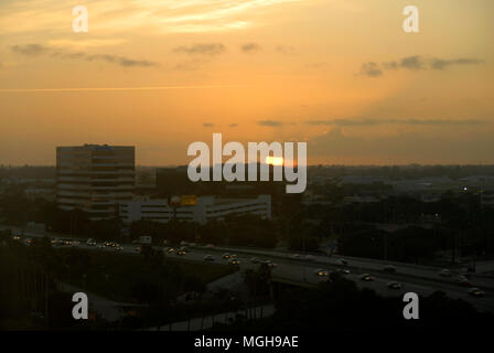 Fast-moving traffic on highway at sunset, Fort Lauderdale, Florida, USA - Stock Photo