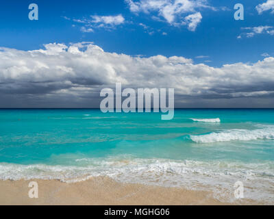 Cancun, Mexico, South America: [Tropical relaxation at zona hotelera in cancun, tourist destination, playa Chac Mool beach] - Stock Photo
