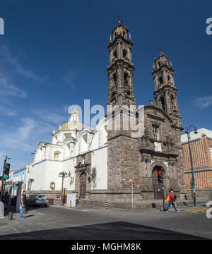 Puebla, Mexico, South America - January 2018: [Town of Puebla, street and church] - Stock Photo