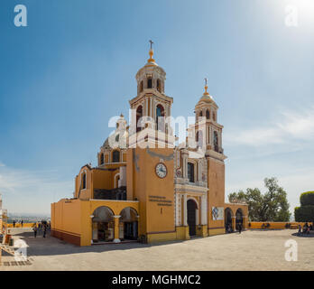Cholula, Mexico, South America: [Great Pyramid of Cholula with the Nuestra Señora de los Remedios church on top, cathedral] - Stock Photo