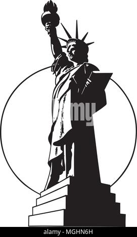 Statue Of Liberty - Retro Clip Art Illustration - Stock Photo
