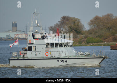 Royal Navy Archer Class P2000 patrol boats on the River Thames in London - Stock Photo