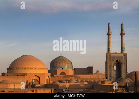 Jameh Masjid or also known as Friday Mosque at the sunrise, in Yazd, Iran - Stock Photo