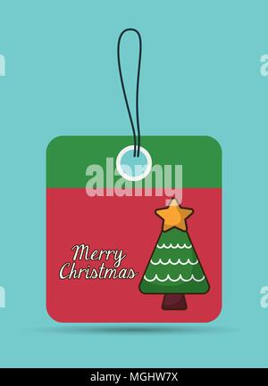pine tree star label merry christmas decoration celebration con. Colorful and flat design. Vector illustration - Stock Photo