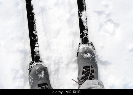 Pair of new cross-country skis and grey ski boots on a white winter snow background with copy space area for wintery themed sports and Nordic skiing d - Stock Photo