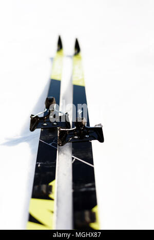 Pair of new cross-country skis on a white winter snow background with copy space area for wintery themed sports and Nordic skiing designs - Stock Photo