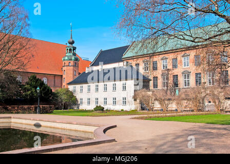 COPENHAGEN, DENMARK - APRIL 13, 2010: View to The Royal Arsenal Museum (left side) and the  Danish National Archives from Royal Library Garden - Stock Photo