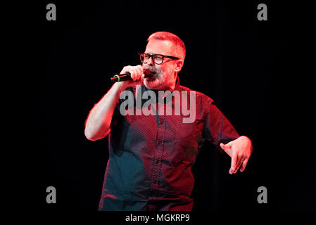 Turin, Italy. 27th Apr, 2018. The Italian rapper and song writer performing live on stage at the Officine Grandi Riparazioni Credit: Alessandro Bosio/Pacific Press/Alamy Live News - Stock Photo