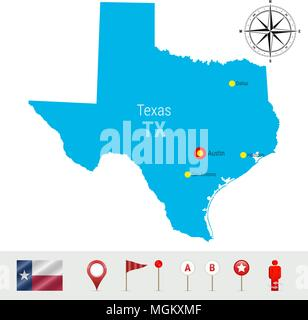 Texas Vector Map Isolated on White Background. High Detailed Silhouette of Texas State. Official Flag of Texas - Stock Photo