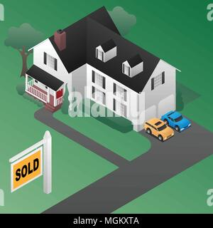 Real Estate Sold Sign with House Isometric 3d Style Vector Illustration - Stock Photo