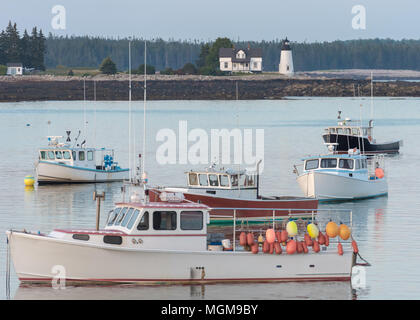 Lobster boats safe in the harbor - Stock Photo