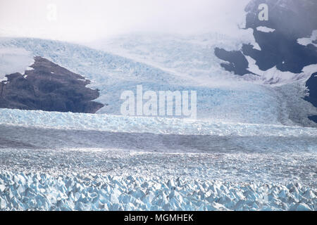 A close view on how the Perito Moreno glacier in Argentina unrolls its carpet up to the mountains of the Andes. - Stock Photo