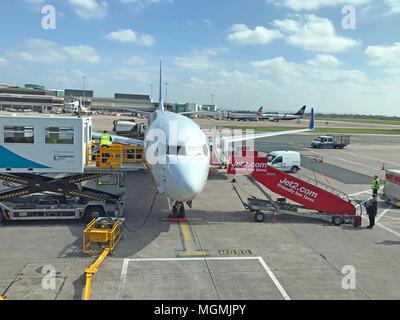 Jet2 Aircraft at Manchester Airport - Stock Photo