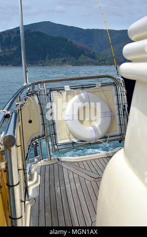 Closeup View of the deck and fittings on a luxury launch in the Marlborough Sounds, New Zealand - Stock Photo