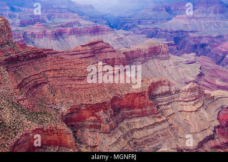 Grand Canyon National Park in Arizona, on overcast day in August. - Stock Photo