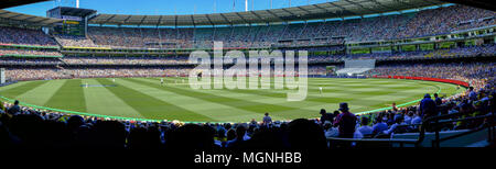 Wide panorama of test cricket match at the Melbourne Cricket Ground (MCG), Australia versus England, Boxing Day 2018 - Stock Photo