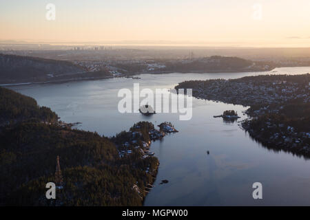 Aerial View Of Deep Cove During A Vibrant Sunset Taken In Vancouver British Columbia