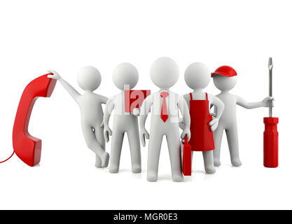 Group of 3D man different careers, professional career concept - Stock Photo