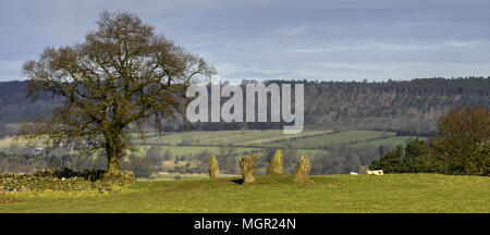 The Grey Ladies stone circle - Stock Photo