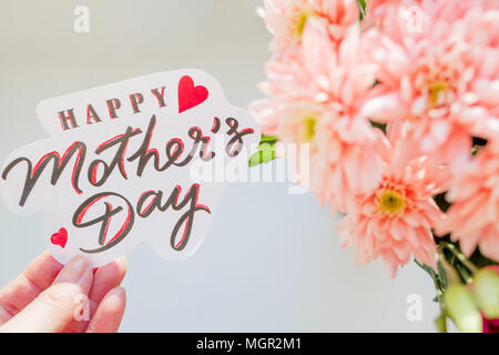 Happy mothers day card or poster template with flower and hand happy mothers day card greeting card with spring bouquet chrysanthemum flowershappy m4hsunfo