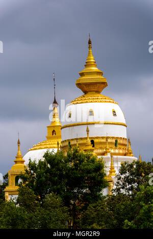 Aung Sakkya Pagoda Maha Bodhi Ta Htaung ('a thousand great Bo trees'), a famous Buddhist region and monastery, Monywa Township, Sagaing Area, Myanmar  - Stock Photo