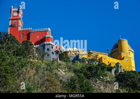Palace da Pena on top of the rocks worms eye view. Sintra, Lisbon. Portugal - Stock Photo