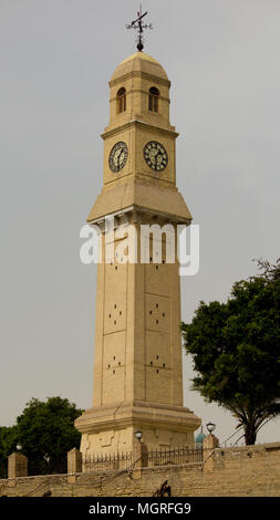 Qishleh hour and located on the banks of the Tigris River in Baghdad ,The oldest clock in Iraq ,Where it was built in the Abbasid , now Refurbished to - Stock Photo
