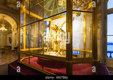 SAINT PETERSBURG, RUSSIA - MARCH 16, 2018: interior of Peacock Clock hall in Hermitage museum. The State Hermitage is second largest museum of art and - Stock Photo
