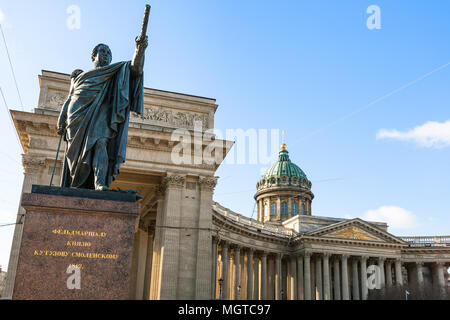 monument of Mikhail Kutuzov near Kazan Cathedral on Nevsky prospect street in Saint Petersburg city in March. The inscription on the pedestal 'for Fie - Stock Photo