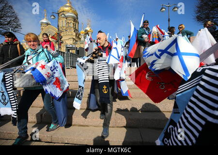 St Petersburg, Russia. 29th Apr, 2018. ST PETERSBURG, RUSSIA - APRIL 29, 2018: People sell souvenirs during the 5th Icebreaker festival. Peter Kovalev/TASS Credit: ITAR-TASS News Agency/Alamy Live News - Stock Photo