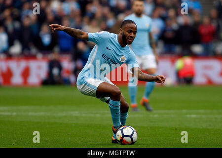 London, UK. 29th Apr, 2018. Raheem Sterling of Manchester City in action. Premier League match, West Ham United v Manchester city at the London Stadium, Queen Elizabeth Olympic Park in London on Sunday 29th April 2018.  this image may only be used for Editorial purposes. Editorial use only, license required for commercial use. No use in betting, games or a single club/league/player publications . pic by Steffan Bowen/Andrew Orchard sports photography/Alamy Live news Credit: Andrew Orchard sports photography/Alamy Live News - Stock Photo
