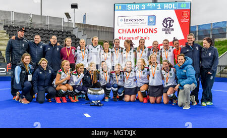 London, UK. 29 April 2018. Surbiton Ladie's team celebrate after winning the IWHL Final during IWHL Final between Surbiton and Holcombe  of the 2018 England Hockey League Final on Sunday, 29 April 2018. London, England. Credit: Taka G Wu Credit: Taka Wu/Alamy Live News - Stock Photo