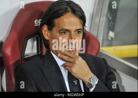 Turin, Italy. 29th Apr, 2018. Simone INZAGHI, head coach of SS Lazio, during the Serie A football match between Torino FC and SS Lazio at Stadio Grande Torino on 29th April, 2018 in Turin, Italy. Credit: FABIO PETROSINO/Alamy Live News - Stock Photo