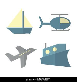 Vector set of transport isolated on white - ship, helicopter, airplane, steamer - Stock Photo