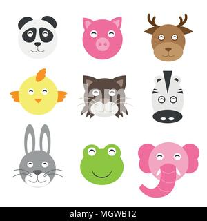 Cute cartoon animals head round shape in flat style - Stock Photo